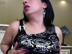 Mature Arab mom with big black rubber cock