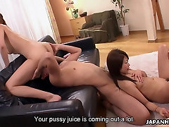 Sweet Asian babes get to be foursome fucked
