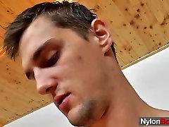 Panty-hose dude masturbation