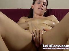 Oiling up my tits and pussy then finger fucking myself to or