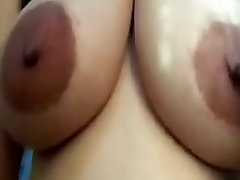 Mega areolas with big nips on huge latin tits riding cock