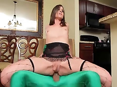Sexy young slut shemale takes big cock